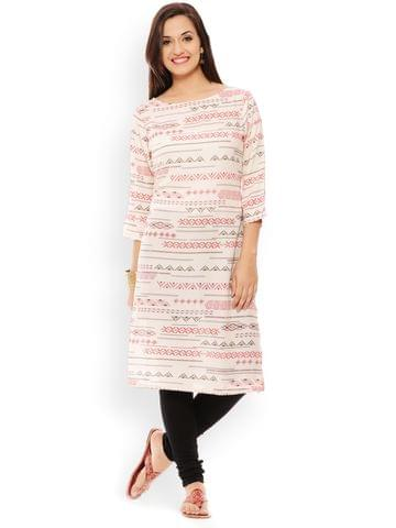 PATOLA Off-White Printed Rayon 3/4 Sleeve Regular Fit Boat Neck Kurti