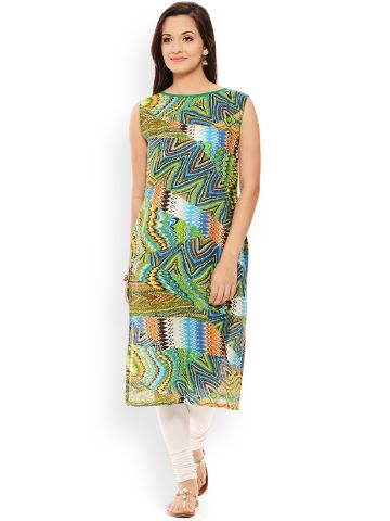 PATOLA Green Printed Cotton Sleeveless Regular Fit Boat Neck Kurti