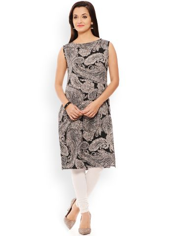 PATOLA Multi-Coloured Printed Rayon Sleeveless Regular Fit Boat Neck Kurti