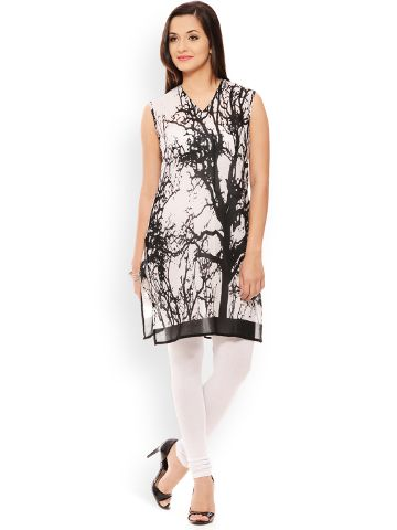 PATOLA Multi-Coloured Printed Cotton Sleeveless Regular Fit V-Neck Kurti