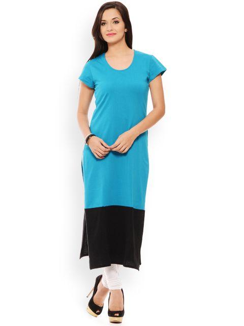 PATOLA Turquoise Solid Cotton Short Sleeve Regular Fit Round Neck Kurti