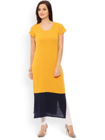 PATOLA Multi-Coloured Solid Cotton Short Sleeve Regular Fit Round Neck Kurti