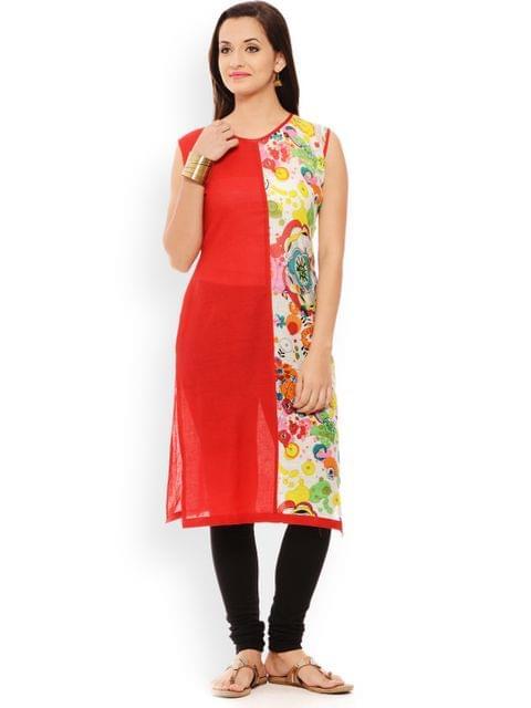 PATOLA Red Printed Cotton Sleeveless Regular Fit Boat Neck Kurti