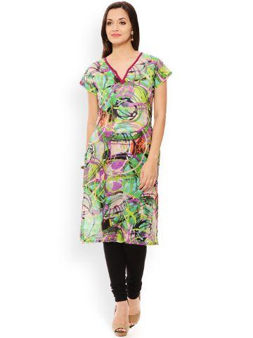PATOLA Multi-Coloured Printed Cotton Short Sleeve Regular Fit V-Neck Kurti