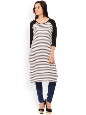 PATOLA Multi-Coloured Striped Cotton 3/4 Sleeve Regular Fit Round Neck Kurti