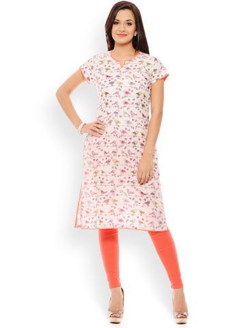 PATOLA Multi-Coloured Printed Rayon 3/4 Sleeve Regular Fit V-Neck Kurti