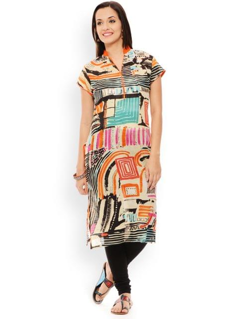 PATOLA Multi-Coloured Printed Cotton Short Sleeve Regular Fit Banded Collar Kurti