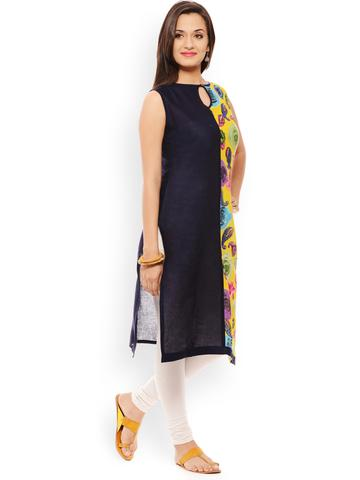 PATOLA Blue Printed Cotton Sleeveless Regular Fit Round Neck Kurti