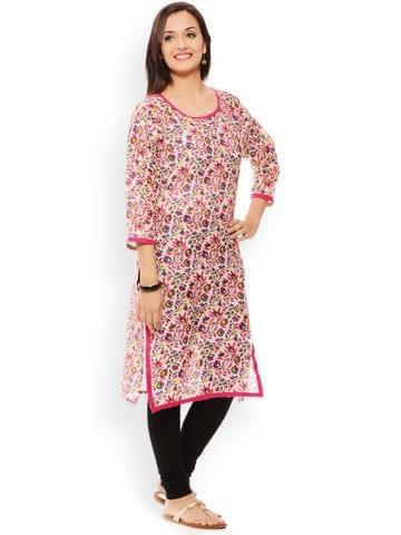 PATOLA Pink Printed Cotton 3/4 Sleeve Regular Fit Round Neck Kurti