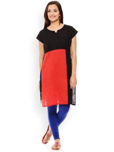 PATOLA Red Solid Cotton Short Sleeve Regular Fit V-Neck Kurti