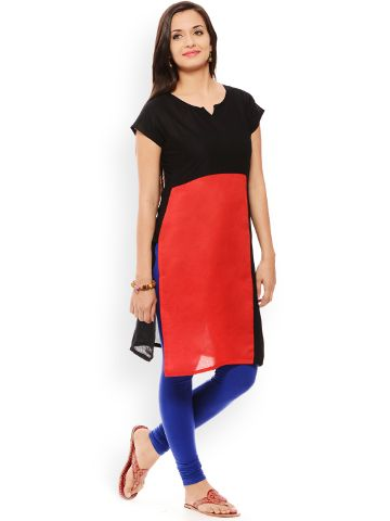 PATOLA Red Solid Cotton Short Sleeve Regular Fit V-Neck Kurti