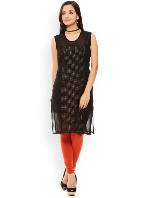 PATOLA Black Printed Georgette Sleeveless Regular Fit Round Neck Kurti