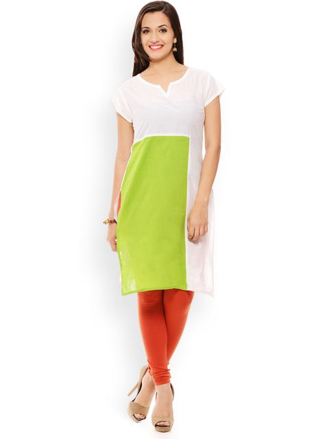 PATOLA White Solid Cotton Short Sleeve Regular Fit V-Neck Kurti