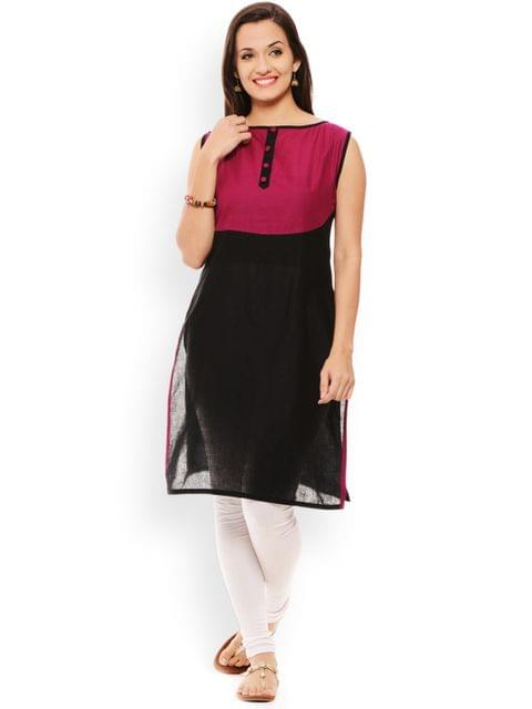 PATOLA Black Solid Cotton Sleeveless Regular Fit Boat Neck Kurti