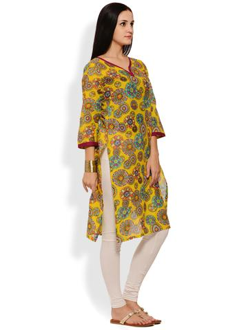 PATOLA Yellow Printed Cotton 3/4 Sleeve Regular Fit V-Neck Kurti