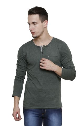 Green Melange Slim Fit, Full Sleeve Henley Tee