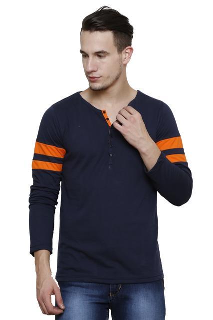 Navy  Slim Fit, orange stripes detailing, Full Sleeve Henley Tee