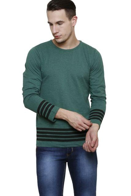 Green Melange with Black Stripe Long Sleeve Round Neck Tee