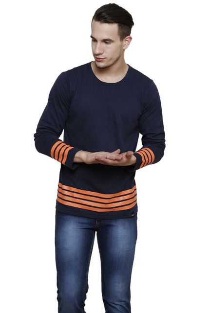 Navy Solid with Orange Stripe Long Sleeve Round Neck Tee