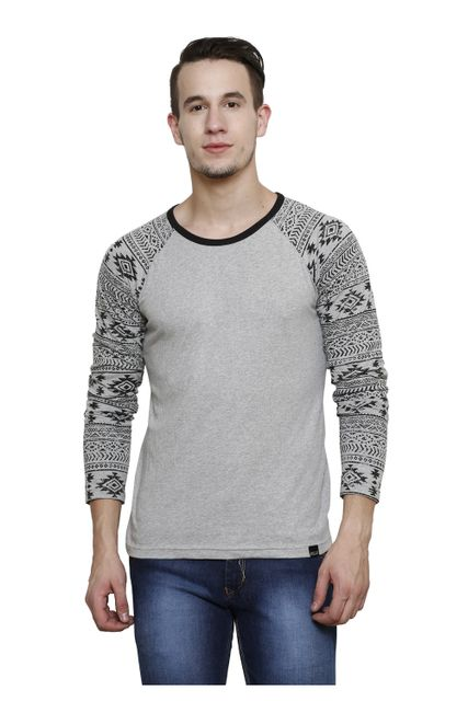 Grey Melange with Raglan Geometric Printed Long Sleeve Round Neck Tee
