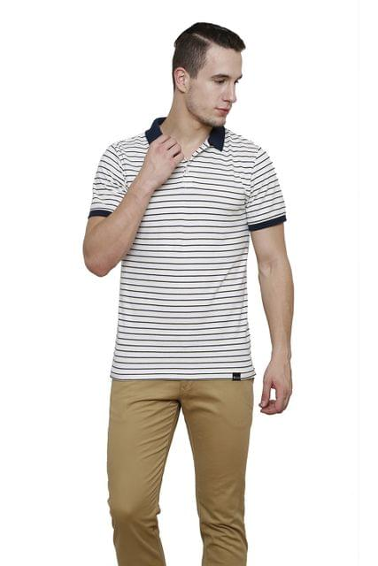 White Striped Half Sleeve Slim Fit Polo Tee