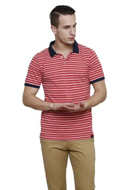 Magenta Striped Half Sleeve Slim Fit Polo Tee