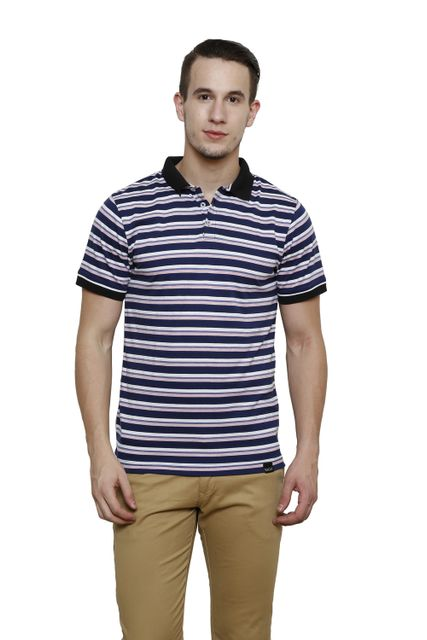 Blue Striped Half Sleeve Slim Fit Polo Tee