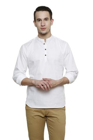 White Solid Slim Fit Casual Shirt