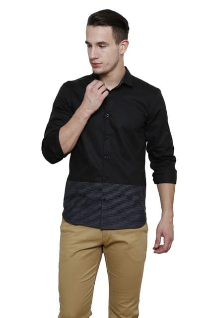 Black Shirt with striped bottom Panel Slim Fit Casual Shirt