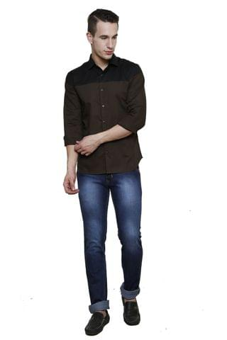 Olive with Black Yoke Detailing Slim Fit Casual Shirt