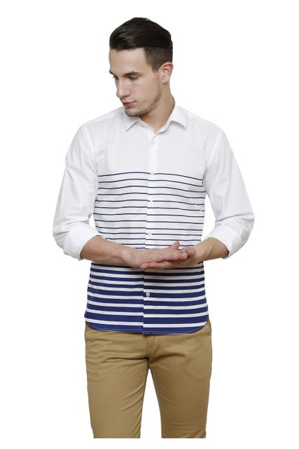 White with Navy uneven Striped Slim Fit Casual Shirt