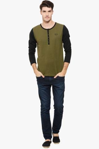 Olive Solid Henley T-Shirt