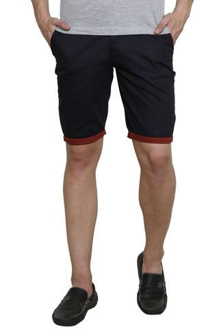 Navy Solid Slim Fit 4 Pocket Short