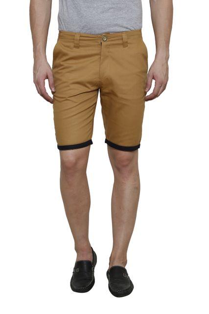 Khaki Solid Slim Fit 4 Pocket Short