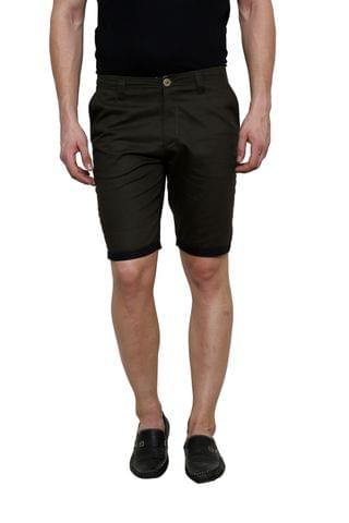 Olive Solid Slim Fit 4 Pocket Short