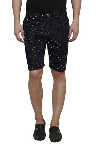 Navy Printed Slim Fit 4 Pocket Short