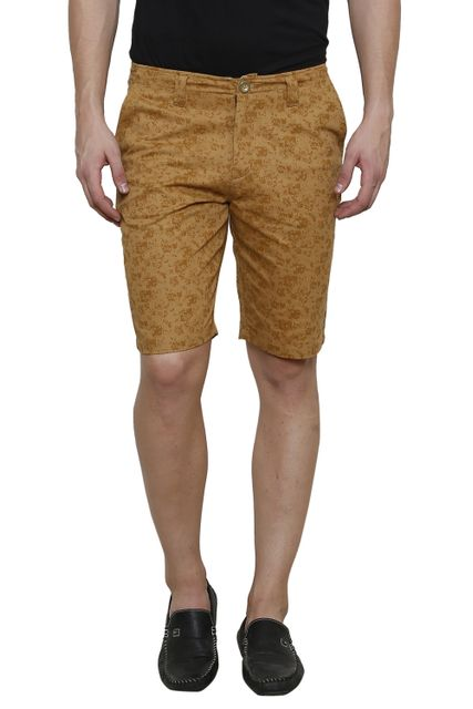 Khaki Printed Slim Fit 4 Pocket Short