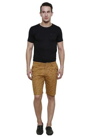 Khaki Printed Slim Fit 4 Pocket Short