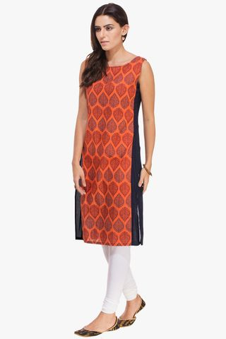Patola Orange Printed With Blue Side Panel Kurta