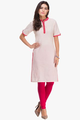 Patola White And Pink Kurta