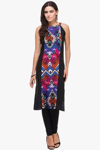 Patola Black & Printed Yoke Halter Neck Kurta