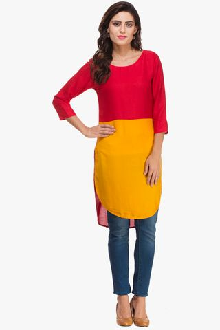 Patola Red And Mustard Yellow Kurta