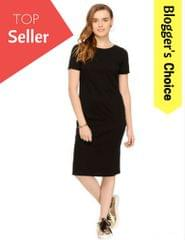Black Solid Knee length Half Sleeve Bodycon dress