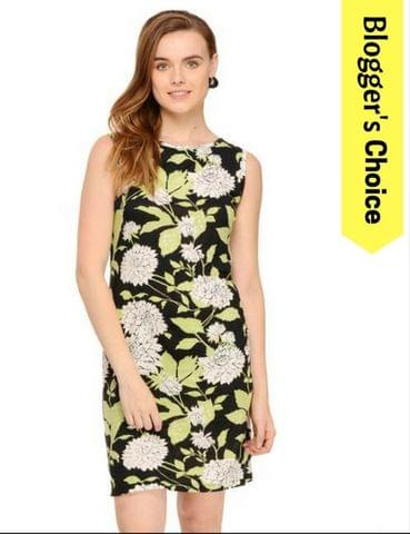 Black Botanical Print Sleeveless Bodycon Dress