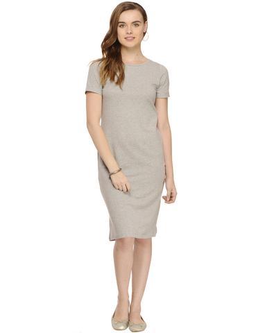 Grey Solid Knee length Half Sleeve Bodycon dress