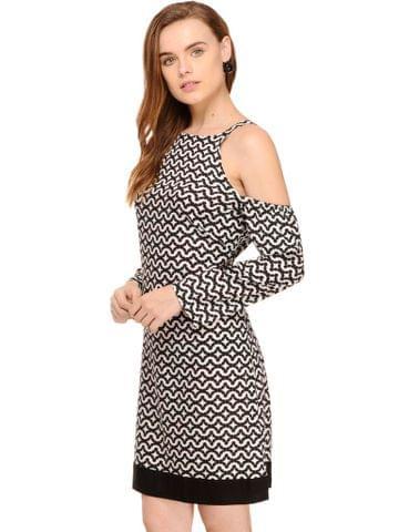 Black & White Rayon Striped Cold Shoulder Dress