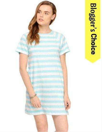 Striped Skater Dress with Side Pockets