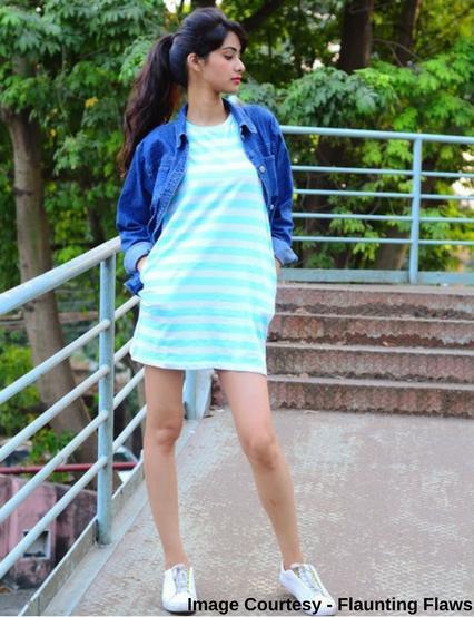Striped Skater Dress with Side Pockets