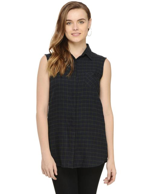 Black Long Check Sleeveless Shirt
