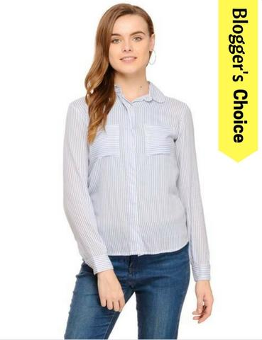 Blue Printed Striped Concealed Placket Shirt